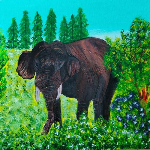 elephant painting, 12 x 10 inch, veena nandavaram,12x10inch,canvas board,paintings,wildlife paintings,landscape paintings,nature paintings | scenery paintings,art deco paintings,animal paintings,elephant paintings,paintings for dining room,paintings for living room,paintings for bedroom,paintings for office,paintings for kids room,paintings for hotel,paintings for kitchen,paintings for school,paintings for hospital,acrylic color,GAL02687039098