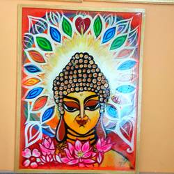 lord buddha , 18 x 24 inch, saranya ghosh,18x24inch,hardboard,paintings,buddha paintings,figurative paintings,paintings for dining room,paintings for living room,paintings for bedroom,paintings for office,paintings for kids room,paintings for hotel,acrylic color,GAL02753939099