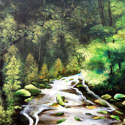 forest, 20 x 16 inch, kankana  pal,landscape paintings,nature paintings,paintings for living room,paintings for office,canvas,acrylic color,20x16inch,GAL08333910Nature,environment,Beauty,scenery,greenery,trees,water,beautiful