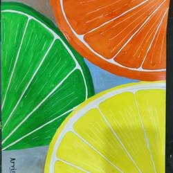 half cut orange, 18 x 12 inch, arvind kumar gupta,18x12inch,thick paper,paintings,abstract paintings,modern art paintings,still life paintings,nature paintings | scenery paintings,expressionism paintings,paintings for dining room,paintings for hotel,paintings for kitchen,acrylic color,paper,GAL02596639101