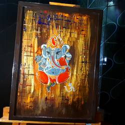 lord ganesha, 17 x 23 inch, saranya ghosh,17x23inch,hardboard,paintings,abstract paintings,figurative paintings,modern art paintings,paintings for dining room,paintings for living room,paintings for bedroom,paintings for office,paintings for kids room,paintings for hotel,paintings for hospital,acrylic color,GAL02753939102