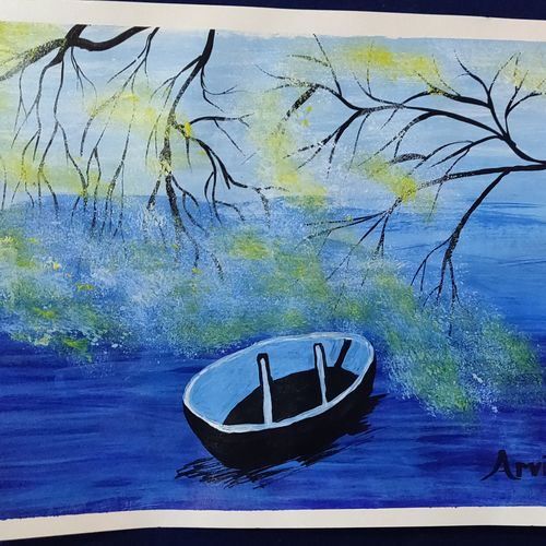 boat 2, 18 x 15 inch, arvind kumar gupta,18x15inch,thick paper,paintings,abstract paintings,modern art paintings,still life paintings,paintings for dining room,paintings for living room,paintings for office,paintings for hotel,paintings for school,paintings for hospital,acrylic color,paper,GAL02596639103