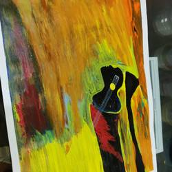 gitaar and girl, 18 x 12 inch, arvind kumar gupta,18x12inch,drawing paper,paintings,abstract paintings,modern art paintings,abstract expressionism paintings,paintings for dining room,paintings for living room,paintings for hotel,paintings for kitchen,paintings for school,paintings for hospital,acrylic color,paper,GAL02596639109
