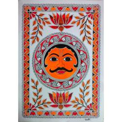 madhubani painting of god sun, 12 x 17 inch, vinita rai,12x17inch,ivory sheet,paintings,folk art paintings,religious paintings,madhubani paintings | madhubani art,paintings for living room,paintings for bedroom,paintings for kids room,paintings for hotel,paintings for school,acrylic color,pen color,GAL01922739123