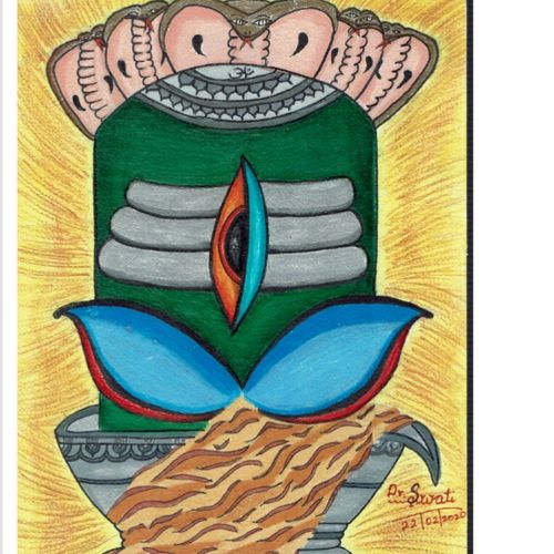 maragadha lingam, 8 x 12 inch, swati iyer,8x12inch,handmade paper,paintings,lord shiva paintings,paintings for living room,paintings for office,paintings for hotel,paintings for hospital,pencil color,GAL02756739124