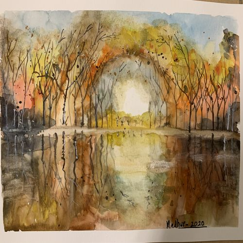 autumn reflections, 11 x 8 inch, madhur  srivastav ,11x8inch,thick paper,landscape paintings,paintings for living room,paintings for office,paintings for living room,paintings for office,watercolor,GAL02756839128