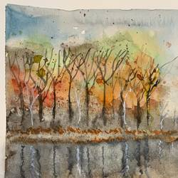 autumn reflections , 11 x 8 inch, madhur  srivastav ,11x8inch,thick paper,paintings,landscape paintings,paintings for dining room,paintings for living room,paintings for office,watercolor,GAL02756839129