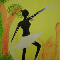 dancing girl, 9 x 12 inch, kalaivani pazhani,9x12inch,canvas,folk art paintings,paintings for living room,paintings for living room,watercolor,GAL02757039131