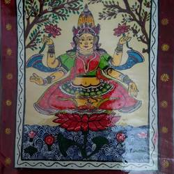 sri lakshmi in pattachitra, 11 x 16 inch, kalaivani pazhani,11x16inch,handmade paper,paintings,religious paintings,paintings for living room,paintings for hospital,poster color,GAL02757039135