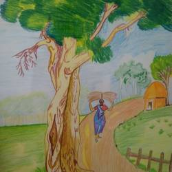 rural life, 11 x 16 inch, kalaivani pazhani,11x16inch,drawing paper,paintings,folk art paintings,nature paintings | scenery paintings,paintings for kids room,paintings for school,pencil color,GAL02757039137