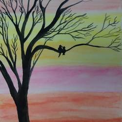 silhouettes, 11 x 15 inch, kalaivani pazhani,11x15inch,drawing paper,paintings,nature paintings | scenery paintings,love paintings,paintings for living room,paintings for bedroom,paintings for hotel,watercolor,GAL02757039138
