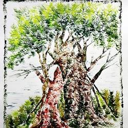 the tree, 28 x 35 inch, kankana  pal,nature paintings,paintings for living room,paper,mixed media,28x35inch,GAL08333914Nature,environment,Beauty,scenery,greenery