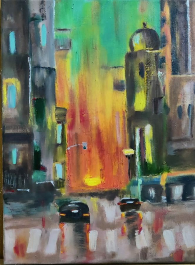 citylife , 12 x 16 inch, shikha gupta,12x16inch,canvas,paintings,abstract paintings,cityscape paintings,landscape paintings,modern art paintings,conceptual paintings,impressionist paintings,contemporary paintings,paintings for dining room,paintings for living room,paintings for bedroom,paintings for office,paintings for hotel,paintings for school,paintings for hospital,oil color,GAL02750339152