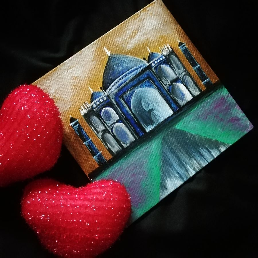 twisted tajmahal, 6 x 6 inch, sreelakshmi s,6x6inch,canvas,paintings,cityscape paintings,acrylic color,GAL02518239159