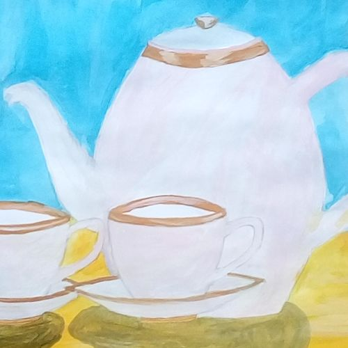 tea set, 9 x 11 inch, mrs. kalyani lahon,modern art paintings,paintings for dining room,paper,poster color,9x11inch,GAL06573916