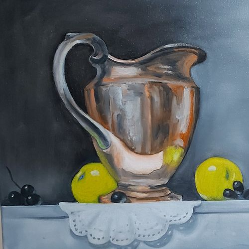 jug, fruits on table with mat, 20 x 16 inch, ashok sharma,20x16inch,canvas,paintings,still life paintings,oil color,GAL02758339162