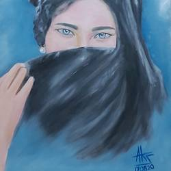 lady with a veil , 20 x 16 inch, ashok sharma,20x16inch,canvas,realistic paintings,oil color,GAL02758339163