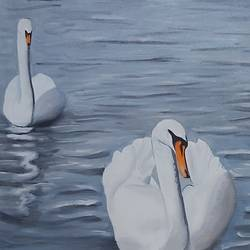ducks in water, 20 x 16 inch, ashok sharma,20x16inch,canvas,nature paintings | scenery paintings,oil color,GAL02758339166