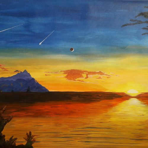 nature  - landscape art, 28 x 18 inch, indhuja raghavan,landscape paintings,paintings for bedroom,canvas,acrylic color,28x18inch,GAL01103917