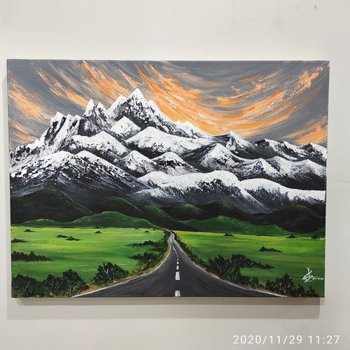mountains are calling!! , 24 x 18 inch, radha g,24x18inch,canvas,paintings,landscape paintings,nature paintings | scenery paintings,paintings for living room,paintings for bedroom,acrylic color,GAL02759539173