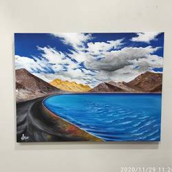 ladakh, 24 x 18 inch, radha g,24x18inch,canvas,landscape paintings,nature paintings | scenery paintings,paintings for living room,paintings for bedroom,paintings for living room,paintings for bedroom,acrylic color,GAL02759539174