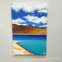pangong lake, 12 x 18 inch, radha g,12x18inch,canvas,paintings,landscape paintings,nature paintings | scenery paintings,paintings for living room,paintings for bedroom,acrylic color,GAL02759539175