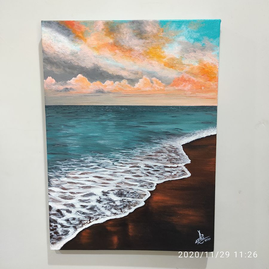 vitamin sea, 12 x 16 inch, radha g,12x16inch,canvas,paintings,landscape paintings,nature paintings | scenery paintings,paintings for living room,paintings for bedroom,acrylic color,GAL02759539176