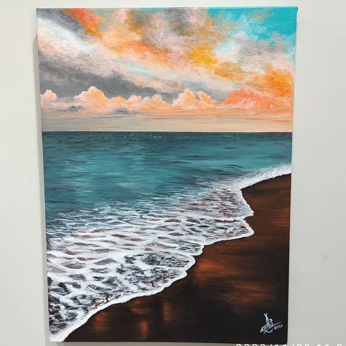 vitamin sea, 12 x 16 inch, radha g,12x16inch,canvas,paintings,landscape paintings,nature paintings   scenery paintings,paintings for living room,paintings for bedroom,acrylic color,GAL02759539176
