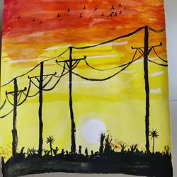 sunset, 8 x 12 inch, mable  mathew,8x12inch,paper,nature paintings | scenery paintings,poster color,GAL02761839180