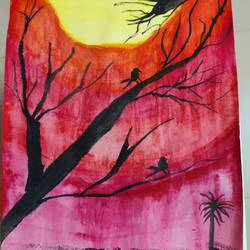 chirping to the world, 8 x 12 inch, mable  mathew,8x12inch,paper,paintings,nature paintings | scenery paintings,poster color,GAL02761839181