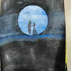 dancing by the moon, 8 x 12 inch, mable  mathew,8x12inch,paper,paintings,nature paintings | scenery paintings,poster color,GAL02761839184