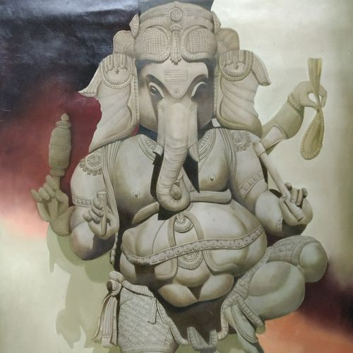 ganesha, 28 x 24 inch, lisha  n t,28x24inch,canvas,religious paintings,paintings for living room,paintings for office,paintings for hotel,paintings for school,paintings for hospital,paintings for living room,paintings for office,paintings for hotel,paintings for school,paintings for hospital,acrylic color,GAL02392939196