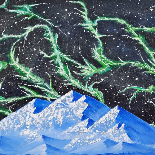 dream night mountains , 34 x 23 inch, srinu badri,34x23inch,canvas,paintings,abstract paintings,modern art paintings,nature paintings | scenery paintings,paintings for dining room,paintings for living room,paintings for bedroom,paintings for kids room,acrylic color,GAL01289939198