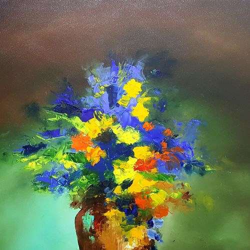 flower vase 2, 24 x 30 inch, bhanupratap khare,flower paintings,paintings for living room,canvas,oil,24x30inch,GAL012963920