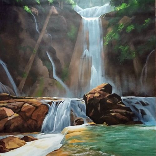 water fall, 25 x 38 inch, lisha  n t,25x38inch,canvas,paintings,landscape paintings,realism paintings,realistic paintings,paintings for dining room,paintings for living room,paintings for bedroom,paintings for office,paintings for bathroom,paintings for kids room,paintings for hotel,paintings for kitchen,paintings for school,paintings for hospital,acrylic color,GAL02392939200
