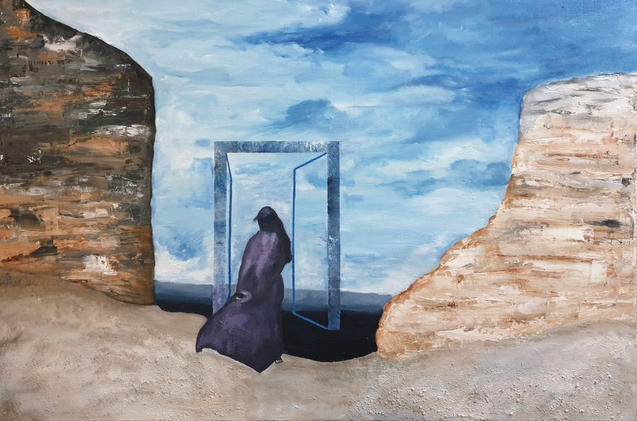 door yo salvation , 36 x 24 inch, shikha gupta,36x24inch,canvas,paintings,abstract paintings,figurative paintings,landscape paintings,modern art paintings,conceptual paintings,paintings for dining room,paintings for living room,paintings for bedroom,paintings for office,paintings for hotel,paintings for school,paintings for hospital,mixed media,oil color,GAL02750339202