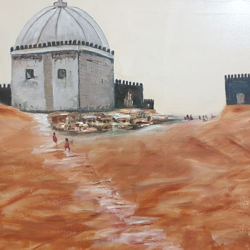 the fort, 36 x 24 inch, shikha gupta,36x24inch,canvas,paintings,cityscape paintings,contemporary paintings,realistic paintings,paintings for dining room,paintings for living room,paintings for bedroom,paintings for office,paintings for hotel,paintings for school,paintings for hospital,oil color,GAL02750339205