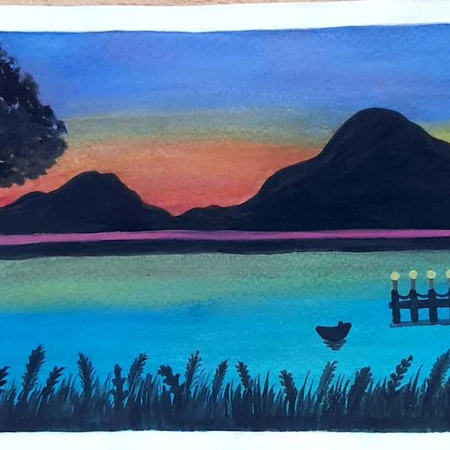 sunset landscape painting, 8 x 6 inch, nikhat  khan,8x6inch,brustro watercolor paper,landscape paintings,illustration paintings,paintings for living room,paintings for bedroom,paintings for office,paintings for kids room,paintings for hotel,paintings for school,paintings for living room,paintings for bedroom,paintings for office,paintings for kids room,paintings for hotel,paintings for school,watercolor,GAL02634339211