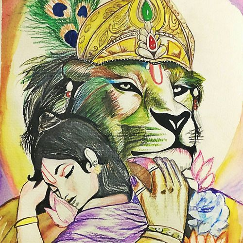 narsimha-prahlad, 12 x 17 inch, khushbu soni,religious paintings,paintings for living room,paintings,thick paper,watercolor,12x17inch,GAL012263922