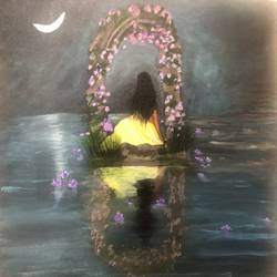 lady and the crescent , 20 x 24 inch, swapna somasi,20x24inch,canvas board,paintings,figurative paintings,paintings for bedroom,acrylic color,GAL02754339222
