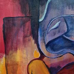 lord ganesh painting , 8 x 12 inch, ninad mantri,8x12inch,canson paper,paintings,abstract paintings,modern art paintings,religious paintings,ganesha paintings | lord ganesh paintings,paintings for dining room,paintings for living room,paintings for bedroom,paintings for office,paintings for kids room,paintings for hotel,paintings for school,paintings for hospital,acrylic color,GAL02657839227