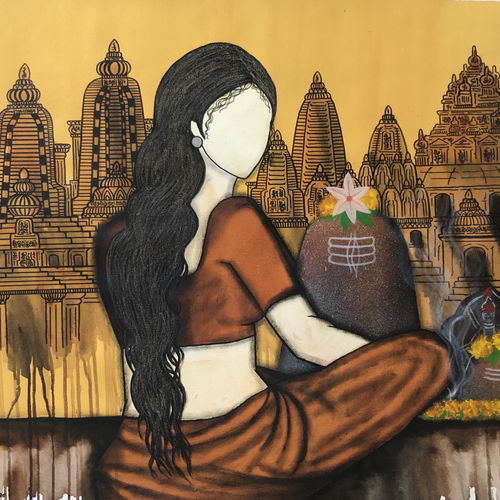 sadhvi , 32 x 30 inch, mrinal  dutt,32x30inch,canvas,paintings,figurative paintings,religious paintings,paintings for dining room,paintings for living room,paintings for bedroom,paintings for office,paintings for bathroom,paintings for hotel,paintings for kitchen,paintings for hospital,acrylic color,GAL01311739232