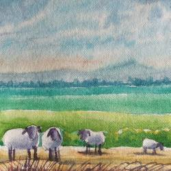 sheep in meadow, 7 x 5 inch, ajay anand,7x5inch,handmade paper,paintings,landscape paintings,paintings for living room,paintings for living room,watercolor,GAL01783939238