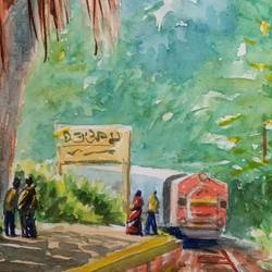 train in jungle, 6 x 10 inch, ajay anand,6x10inch,cartridge paper,paintings,landscape paintings,paintings for living room,watercolor,GAL01783939239