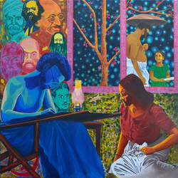 history of dreams and realities, 40 x 36 inch, gayatri artist,figurative paintings,paintings for bedroom,canvas,acrylic color,40x36inch,GAL014293924