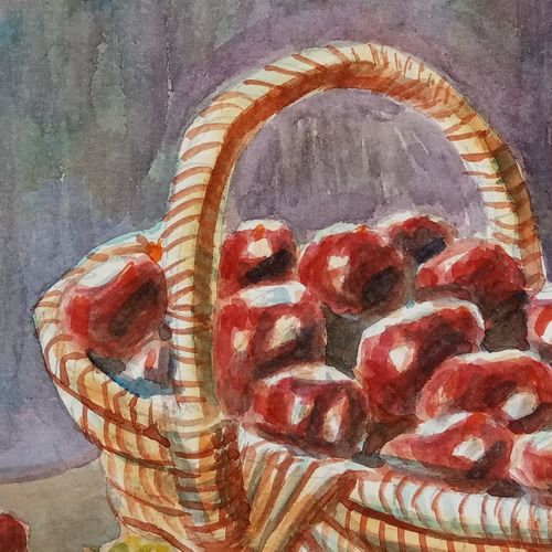 chestnuts in wicker basket, 10 x 6 inch, ajay anand,10x6inch,cartridge paper,paintings,still life paintings,paintings for dining room,paintings for office,paintings for kids room,paintings for kitchen,watercolor,GAL01783939241