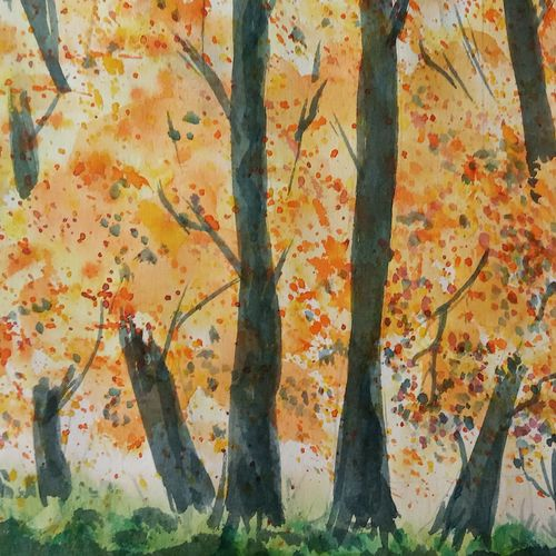 autumn colors , 10 x 6 inch, ajay anand,10x6inch,cartridge paper,paintings,landscape paintings,nature paintings | scenery paintings,abstract expressionism paintings,paintings for living room,paintings for bedroom,paintings for office,paintings for hotel,watercolor,GAL01783939242