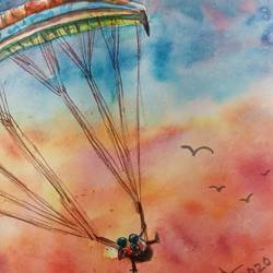flying high , 10 x 6 inch, ajay anand,10x6inch,cartridge paper,paintings,landscape paintings,conceptual paintings,nature paintings | scenery paintings,paintings for living room,paintings for office,paintings for kids room,paintings for hotel,watercolor,GAL01783939244