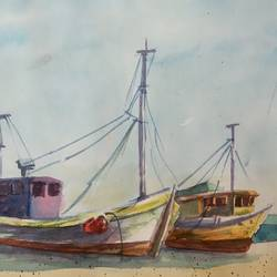 boats on the beach , 10 x 6 inch, ajay anand,10x6inch,cartridge paper,paintings,landscape paintings,conceptual paintings,nature paintings | scenery paintings,impressionist paintings,paintings for bedroom,paintings for bathroom,paintings for hotel,watercolor,GAL01783939245