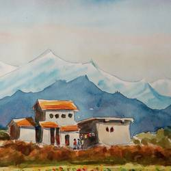 houses in the himalayas, 10 x 6 inch, ajay anand,10x6inch,cartridge paper,paintings,landscape paintings,nature paintings | scenery paintings,impressionist paintings,paintings for living room,paintings for bedroom,paintings for office,paintings for bathroom,paintings for hotel,watercolor,GAL01783939246